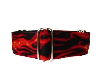 1.5 Inch Martingale Collar, Flames Martingale Collar, Flames Dog Collar, Wide Dog Collar, Red and Black, Custom Dog Collar