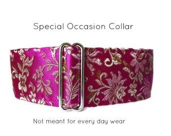 Hot Pink Martingale Collar, Silk Martingale Collar, Whippet Collar, Silk Dog Collar, Silk Brocade, Fancy Dog Collar