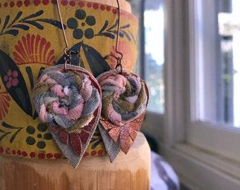Fabric EARRINGS artsy earrings, woven fiber earrings, boho earrings, zen earrings, charm earrings,rustic earrings,  ZASRA