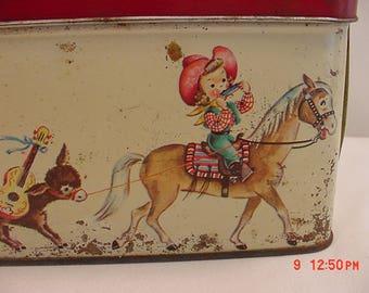 Vintage Metal Cowboy - Cowgirl Lunch Box Pail  17 - 657