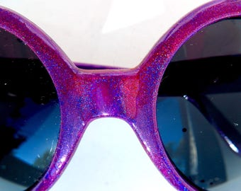Hot Pink Purple Shift Holographic Heart Shaped Sunglasses
