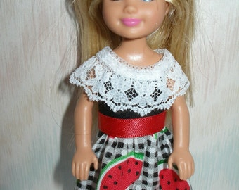 """Handmade 5.5"""" little sister fashion doll clothes - watermelon print dress with lace"""