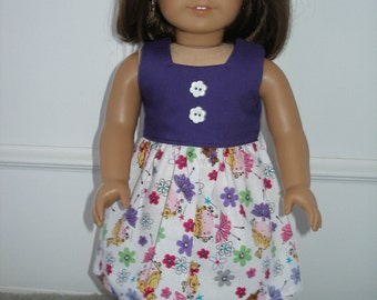 Dress for 18 inch dolls  -purple, white and pink ballerina print with pink glittery shoes