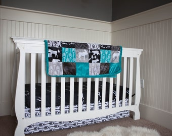 Arrow Crib Skirt - Black White Arrow Skirt - Arrow Nursery - Arrow Bedding - Minky Crib Skirt- YOU Choose Color- Ships in 1-3 Days