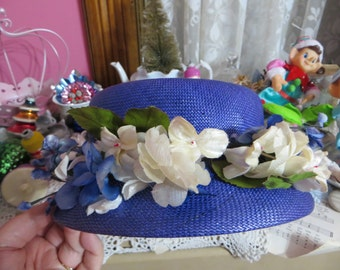 Vintage Peck & Peck Ladies Hat-Royal Blue-Derby-Easter-AWESOME HAT-Union Made-Millinery-1940's