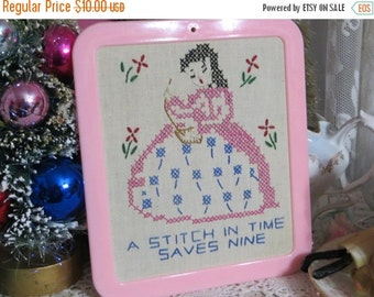 ON SALE Vintage Embroidered and Framed Children's Print-A Stitch In Time Saves Nine-Mint