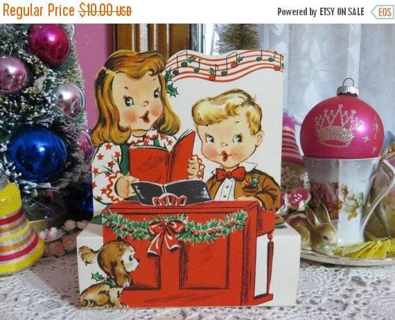 ON SALE Vintage Retro Mid Century Christmas Greeting Card-Sweet Kids-Unused-Childrens-Stand-Up-3-D