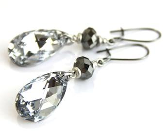 Midnight Twinkles - Silver Swarovski Crystal Dangle Earrings - Metallic Neutral Gray Diamond Drop Earrings
