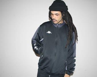 90s Vintage Kappa Black Minimalist Hip Hop Track Sweater Jacket - 90s Clothing - MV0036