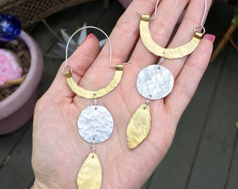 Rustic metal geometric shape hoop earrings, geo hoop earrings