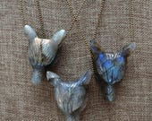 15% May Day Sale Labradorite Carved Wolf Gemstone Pendant Necklace/ Carved Gemstone/ Stone Jewelry Pendant Necklace/ Layering Native America