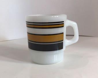Vintage Fire King Anchor Hocking Super Stripe Brown Stackable Coffee Mug