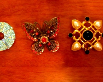 3 Vintage Crystal Broaches one Butterfly -Jewelry