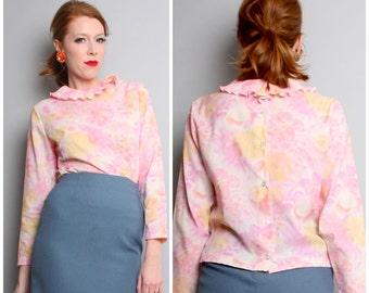 1960's Pink Watercolor Floral Blouse / Vintage 60's Top / Shirt / Medium