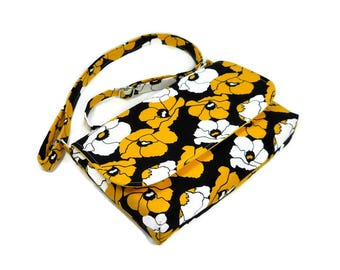 Mini Messenger Bag, Small Crossbody Bag, Floral Pocketbook, Black Yellow White, Fabric Shoulder Bag, Small Floral Purse, Cross Body Purse