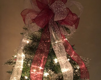 Large Sheer burgundy and sheer white w/ snow dotsChristmas Tree topper bow  6 ft. tails