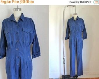 SHOP SALE vintage 1980s jumpsuit - ROSIE blue cotton coveralls / S/M