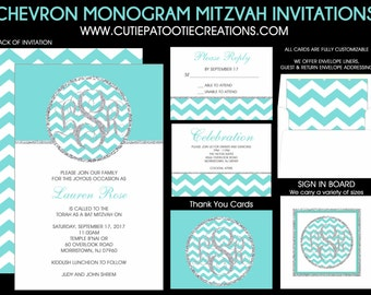 Chevron Bat Mitzvah Invitation with Silver Glitter Pattern and Monogram Initials - Add RSVP Card, Party Card, Thank You Notes, Addressing