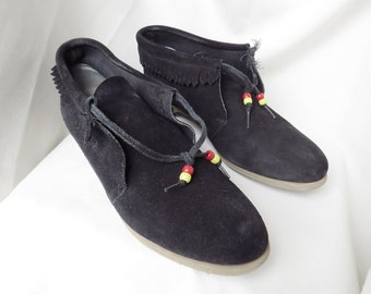 ROAMAN'S Black Suede High Top Moccasins