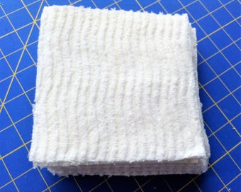 Chenille 6 inch PreCut Squares, Wavy White Pattern -  Total of 16 Squares, Rotary Cut From VINTAGE Bedspread, Clean, Ready To Use