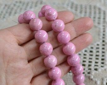 100pcs 8mm Riverstone Pink Natural Gemstone Beads Round 2x16 Inches Strand