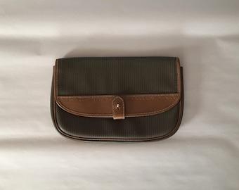 Charles Jourdan Paris clutch | olive and chestnut leather envelope bag