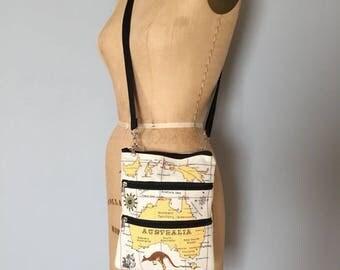 30% OFF SALE... Australia map bag | two pocket messenger bag