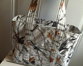 Snow camo quilted diaper bag