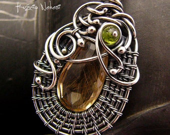 Wire wrapping Necklace - Goldi - Rutilated Quartz Perydot  Sterling and Fine Silver