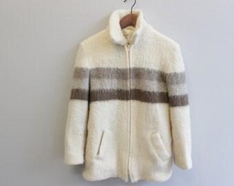Vintage 1960s 1970s Fuzzy Wool Zip up Knit Sweater Jacket by Eddie Bauer