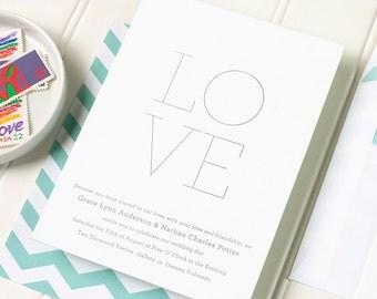 Letterpress Wedding Invitation, Minimal Wedding Invitations, Simple Letterpress Wedding Invite - Letterpress - Minima - SAMPLE