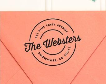 Return Address Stamp, Self-Inking Return Address Stamp, Round Return Address Stamp, Wedding Return Address Stamp, RSVP Stamp - No. 01