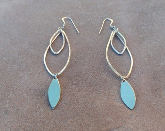 Silver and brass leaves dangle earrings