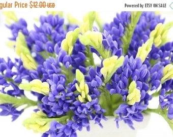 Miniature Blue Bonnet Polymer Clay Flowers Supplies 12 bunches