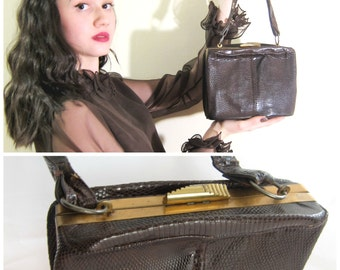 Vintage 1940s 1950s Reptile Handbag AS IS / 40s 50s Brown Leather Regale Bag with Art Deco Clasp