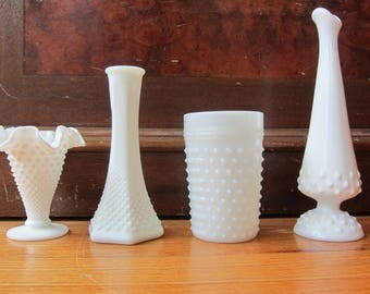 Vintage Milk Glass Vases and Cup /  Dimpled Milk Glass Housewares / Brody