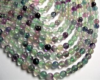 Fluorite 8mm round beads 16 inch strand 50 beads - rainbow fluorite - RFG1253