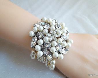 ivory swarovski pearl and crystal Bracelet Statement Bridal Bracelet Bridal Cuff Wedding Rhinestone Bracelet swarovski crystal  PAULETTE