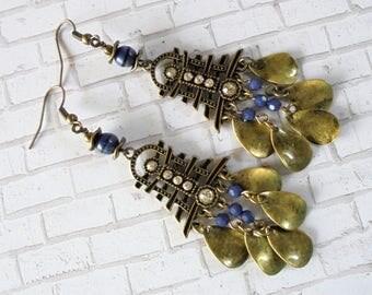 Denim Blue and Brass Oriental, Asian Boho Earrings (3543)