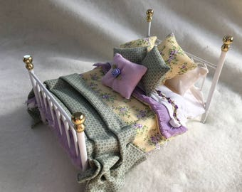 Dolls House Luxury Dressed 1/12th Double Bed - Morgan - NEW SPRING 2017
