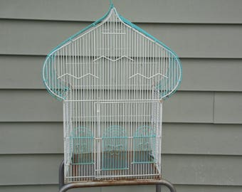 """Bird Cage vintage turquoise blue and white metal bird cage no bottom 28"""" tall back porch patio front porch garden wedding venue photo prop"""