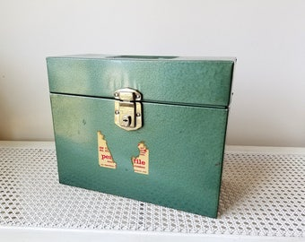Vintage Hamilton Porta-File Metal Box With  Lock Key & Partial Original Label, Green Tall File Box Carrying Case, Industrial Storage USA