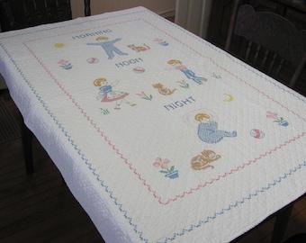 Vintage Hand Embroidered Baby Infant Crib Quilt Blanket