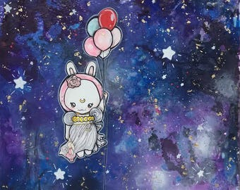 Space Bunny With Balloons- To The Moon-  20x20 Kids Room Art Girls Nursery Art Sailor Moon Rabbit Cute Astronaut Baby Canvas Wall Original