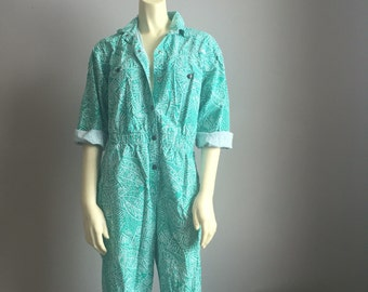 80s DREAMS pantsuit cotton one piece romper playsuit turquoise white art print shirt onesie snap up collar indie hipster kitsch medium S M L