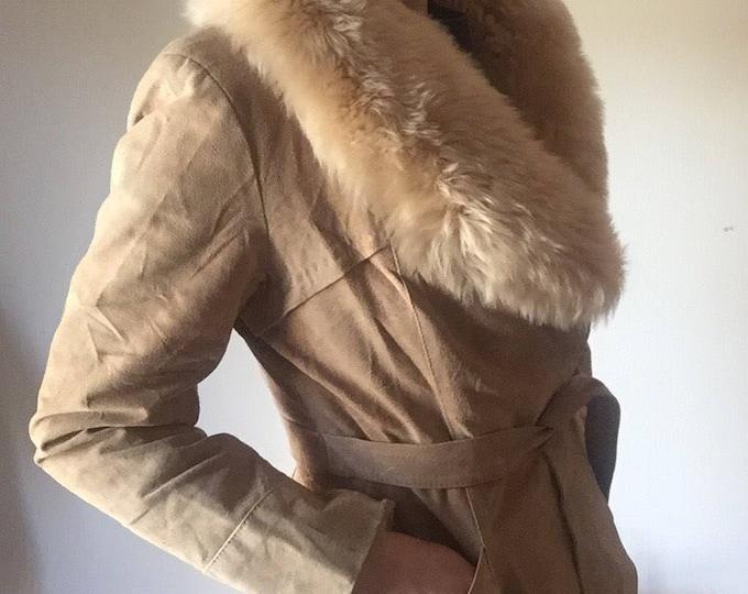 Penny Lane Coat | suede retro 70s vintage waist wrap tie leather tan faux fur collar stole disco coat jacket womens small medium S / M