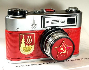 Red USSR FED-5B camera vintage Russian Leica in box  -=OLYMPIC=-