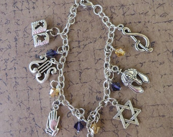 Old Testament King David Silver Charm And Crystal Bracelet