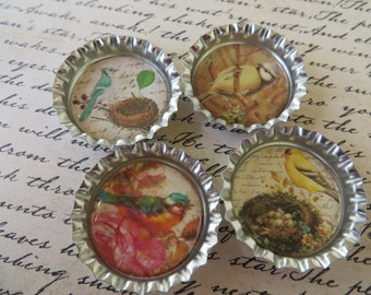 Birds And Nests II Bottle Caps Magnets Or Pin Sets