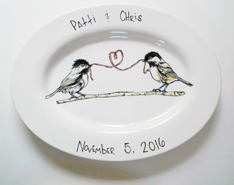 Chickadee Love Platter - Customizable for Anniversaries, Engagements, etc.